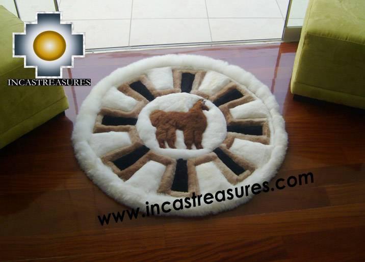 Baby Alpaca Round Shape  Fur Rug Alpaca Wheel
