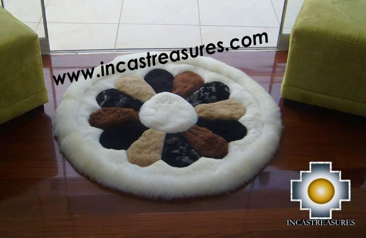 100% Alpaca baby alpaca round fur rug andean flower - Product id: ALPACAFURRUG10-03