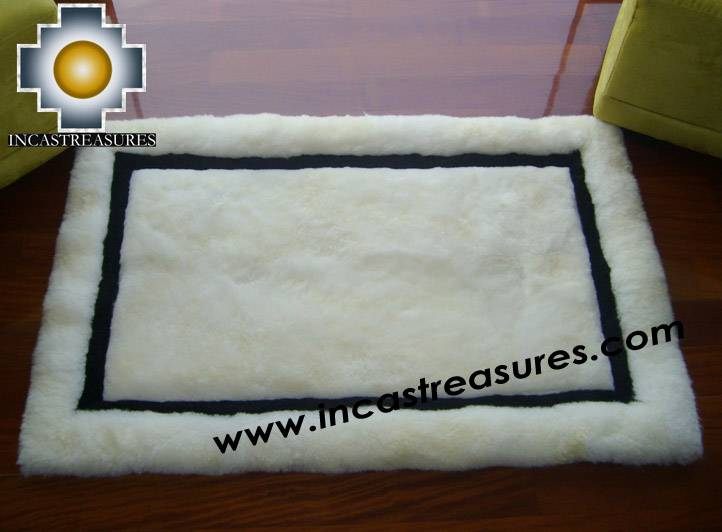 100% Alpaca baby alpaca round fur rug andean mirror - Product id: ALPACAFURRUG10-06 Photo04