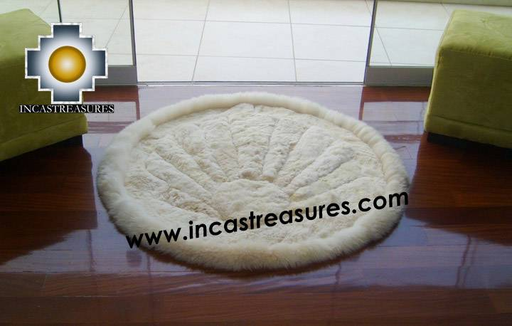 100% Alpaca baby alpaca round fur rug beige shell - Product id: ALPACAFURRUG10-03