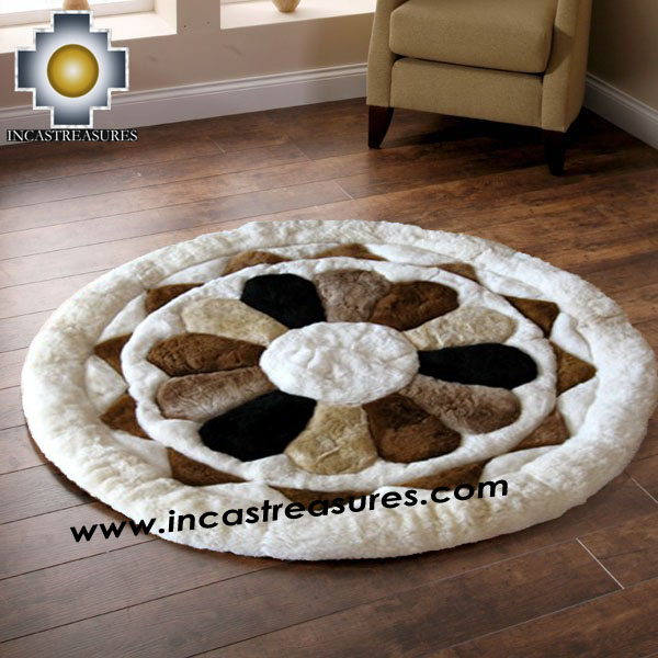 100% Alpaca baby alpaca round Fur Rug Magic Flower - Product id: ALPACAFURRUG14-02