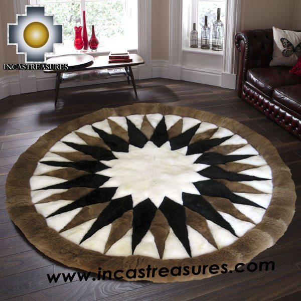 100% Baby Alpaca Round Fur Rug Mighty Star, Free Shipping
