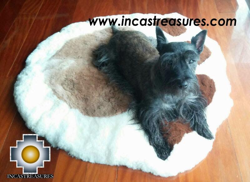 100% Alpaca baby alpaca round fur rug paw - Product id: ALPACAFURRUG14-01