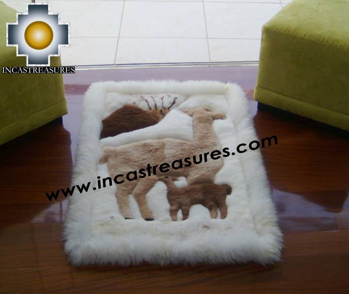 100% Alpaca baby alpaca round fur rug vicugna family - Product id: ALPACAFURRUG10-09 Photo03