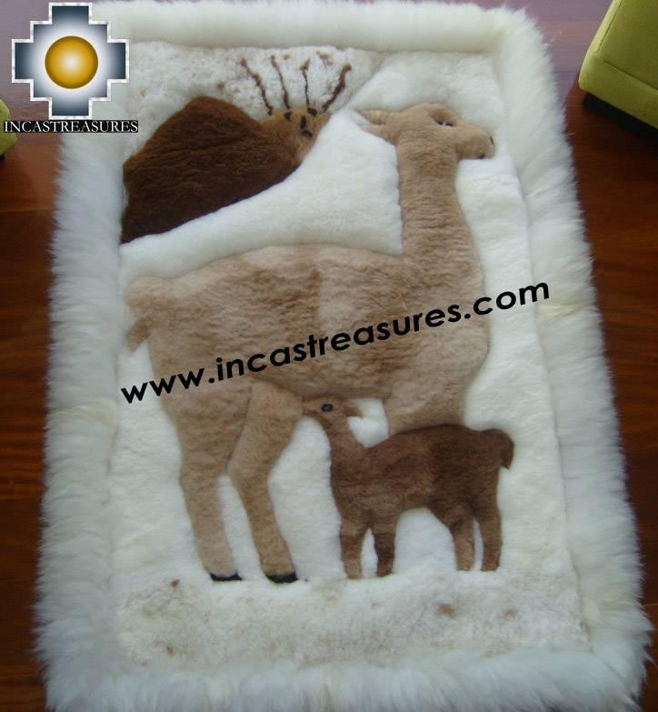 100% Baby Alpaca Geometric Fur Rugs,vicugna Family, Free
