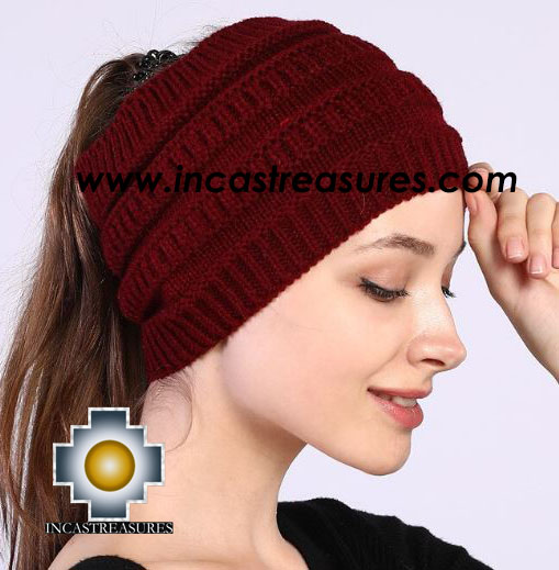 100% Alpaca hat PONYTAIL KNITTED