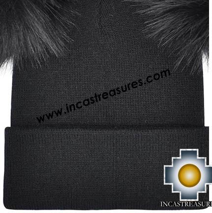 Alpaca Hat with Fur Pompom-Jersey Style- Alpaca Au, Fur in 100% Baby Alpaca