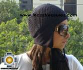 Alpaca Wool Hat Arawi Black, solid Color Chullo - available in 14 colors - Product id: Alpaca-Hats09-27 Photo01