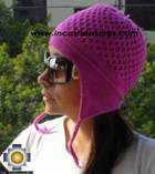 Alpaca Wool Hat Arawi fuchsia, solid Color Chullo - available in 14 colors - Product id: Alpaca-Hats09-32 Photo03