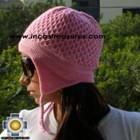 Alpaca Wool Hat Arawi pink, solid Color Chullo - available in 14 colors - Product id: Alpaca-Hats09-36 Photo03