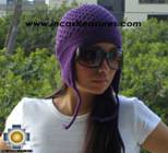 Alpaca Wool Hat Arawi purple, solid Color Chullo - available in 14 colors - Product id: Alpaca-Hats09-37 Photo03