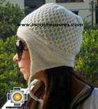 Alpaca Wool Hat Arawi white, solid Color Chullo - available in 14 colors - Product id: Alpaca-Hats09-31 Photo03