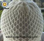 Alpaca Wool Hat Arawi white, solid Color Chullo - available in 14 colors - Product id: Alpaca-Hats09-31 Photo02