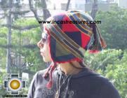Alpaca Wool Hat Geometric Design water -  Product id: Alpaca-Hats09-23 Photo01
