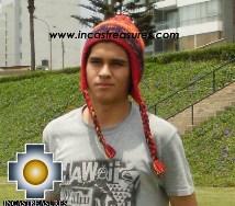 Alpaca Wool Hat Geometric Design red -  Product id: Alpaca-Hats13-01 Photo03