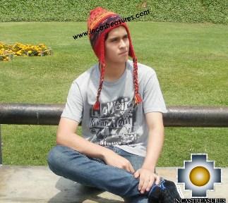 Alpaca Wool Hat Geometric Design red -  Product id: Alpaca-Hats13-01 Photo01