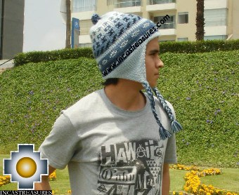 Alpaca Wool Hat Geometric Design Skyblue-  Product id: Alpaca-Hats13-05 Photo02