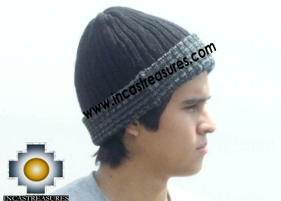 Alpaca Winter Hat reversible Deep Blue Extra Soft - Product id: Alpaca-Hats12-14 Photo01