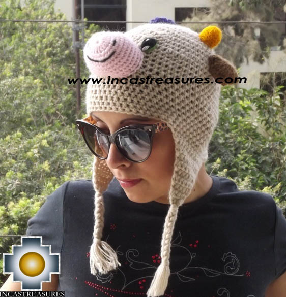 Alpaca Animal Hat Happy Cow -  Product id: Alpaca-Hats13-07