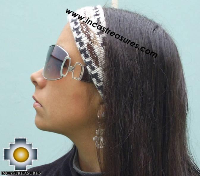 Alpaca Headband Andean Design white -  Product id: Alpaca-Headband10-06 Photo01