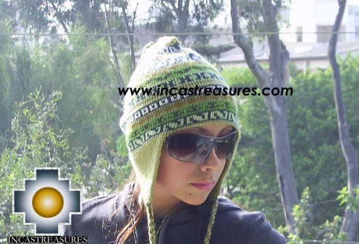 Chullo Hat Andean Design cactus -  Product id: Alpaca-Hats09-20