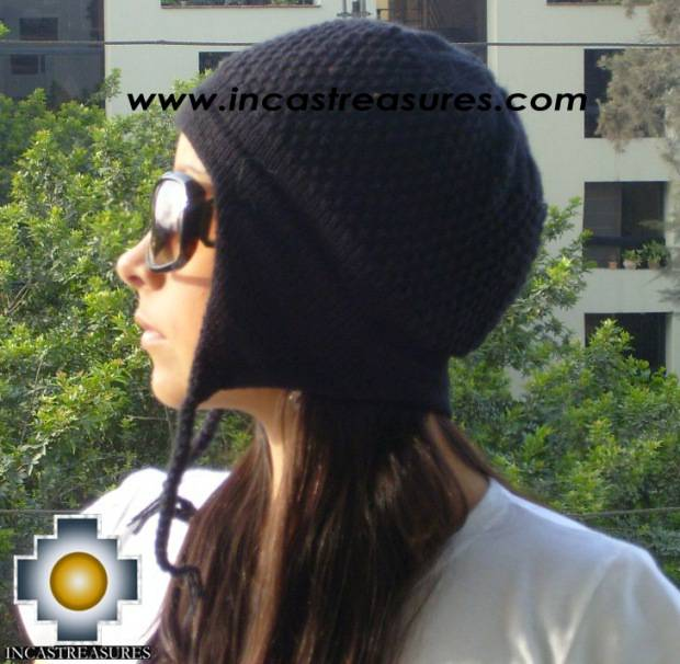 Alpaca wool hat arawi Black, solid color