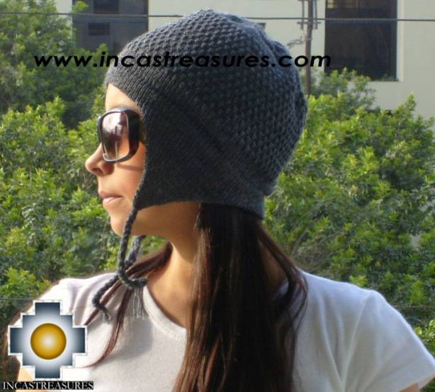 Alpaca wool hat arawi Darkgray, solid color