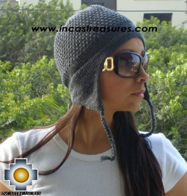 Alpaca Wool Hat Arawi darkgray, solid Color Chullo - available in 14 colors - Product id: Alpaca-Hats09-30