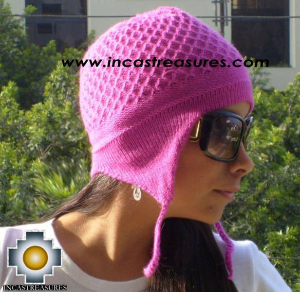 Alpaca Wool Hat Arawi fuchsia, solid Color Chullo - available in 14 colors - Product id: Alpaca-Hats09-32 Photo01