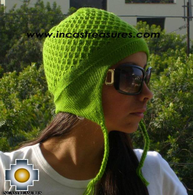 Alpaca Wool Hat Arawi green, solid Color Chullo - available in 14 colors - Product id: Alpaca-Hats09-33