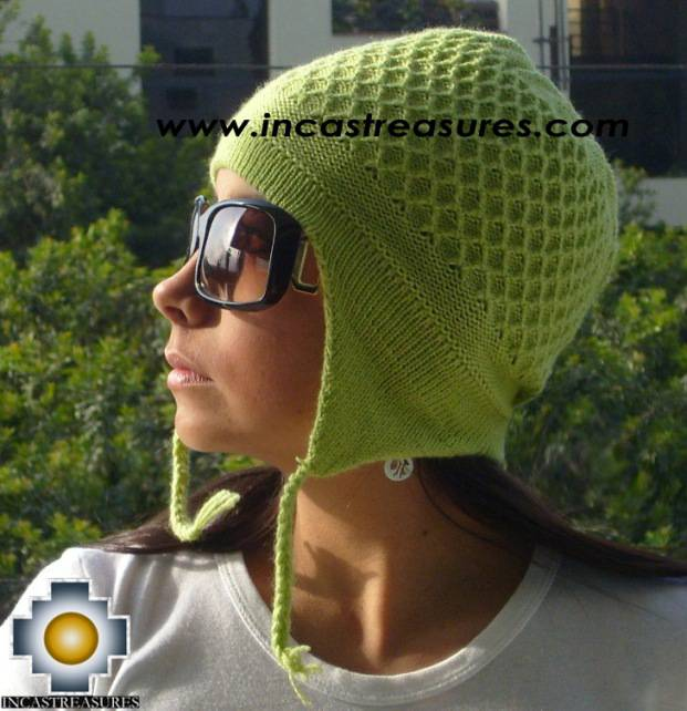 Alpaca wool hat arawi LimeGreen, solid color