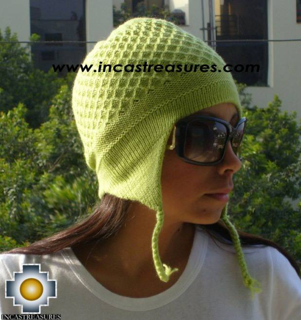 Alpaca Wool Hat Arawi limegreen, solid Color Chullo - available in 14 colors - Product id: Alpaca-Hats09-34