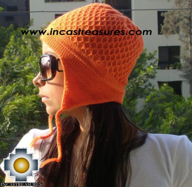 Alpaca wool hat arawi Orange, solid color