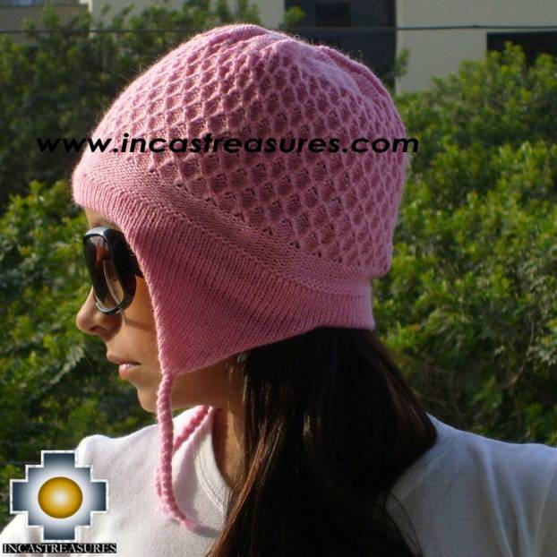 Alpaca wool hat arawi Pink, solid color
