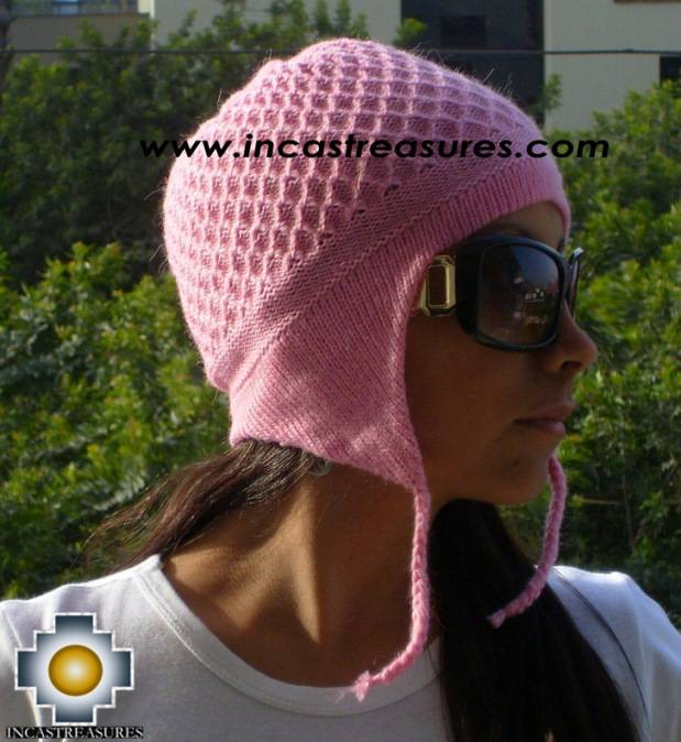 Alpaca Wool Hat Arawi pink, solid Color Chullo - available in 14 colors - Product id: Alpaca-Hats09-36