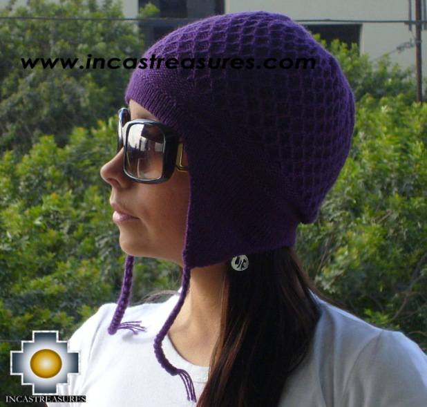 Alpaca wool hat arawi Purple, solid color