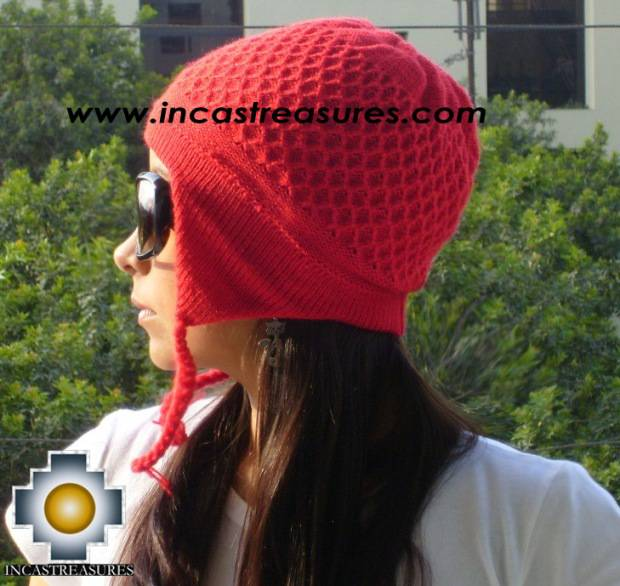 Alpaca wool hat arawi Red, solid color