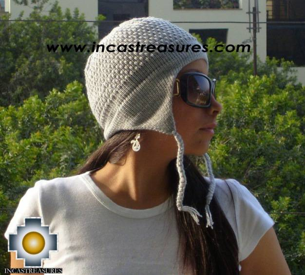 Alpaca Wool Hat Arawi silvergray, solid Color Chullo - available in 14 colors - Product id: Alpaca-Hats09-40