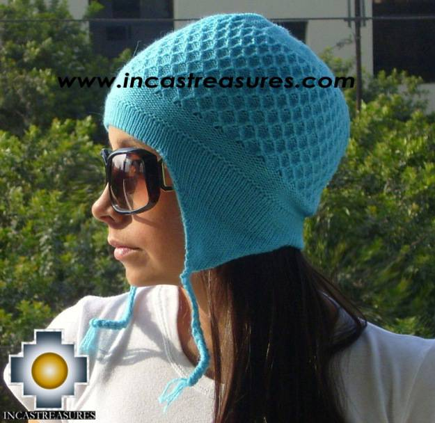 Alpaca wool hat arawi Skyblue, solid color