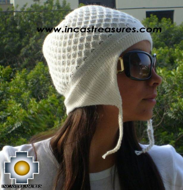 Alpaca wool hat arawi White, solid color