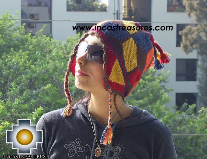 alpaca wool hat geometric designs Earth