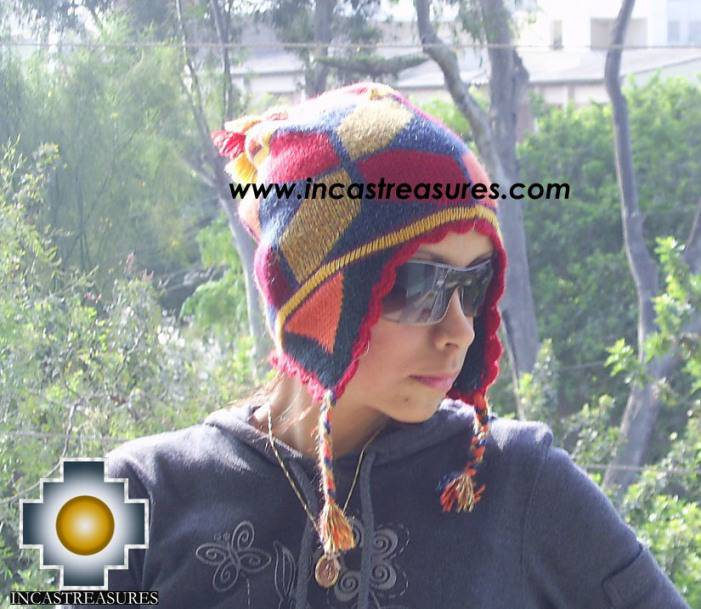 alpaca wool hat geometric designs Fire