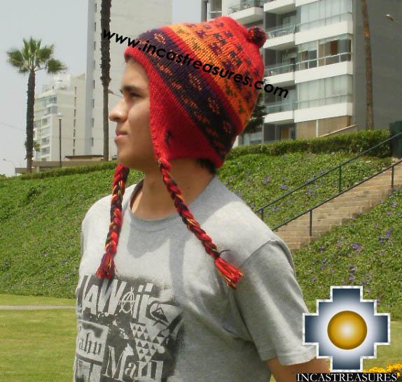Alpaca Wool Hat Geometric Design red -  Product id: Alpaca-Hats13-01
