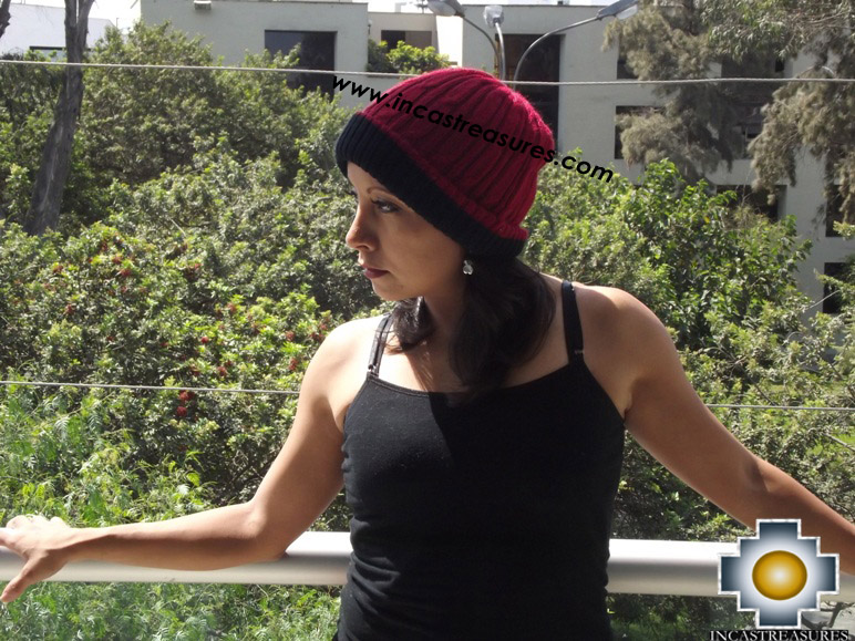 Alpaca Winter Hat reversible Andean Sunset Extra Soft - Product id: Alpaca-Hats15-01