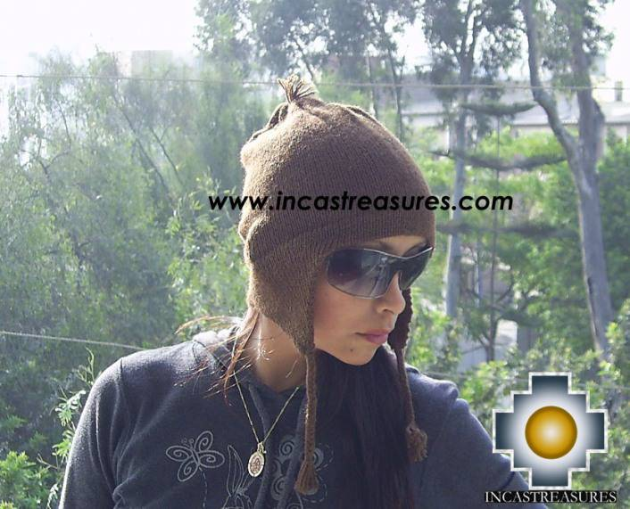 100% Alpaca Wool Hat solid Color Chullo - available in 12 colors - Product id: 100Alpaca-Hats09-06