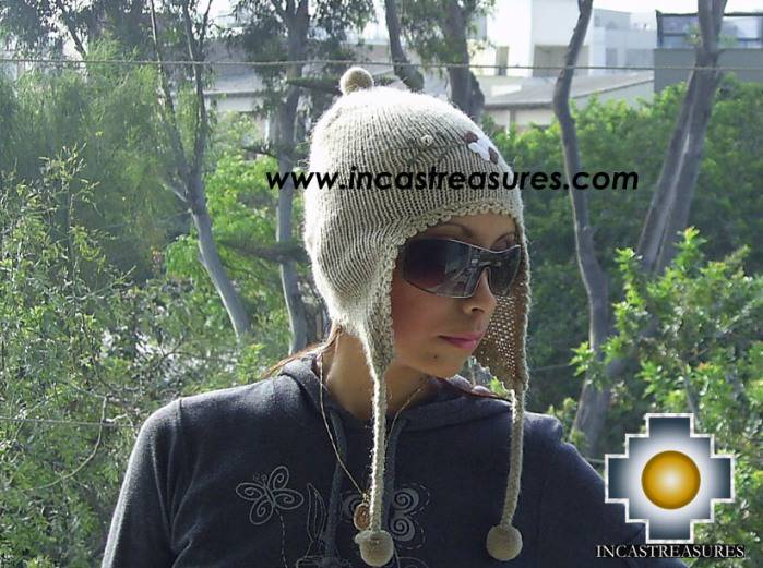 Alpaca Wool Hat with Embroidery Kantuta tiwu  - Product id: Alpaca-Hats09-03