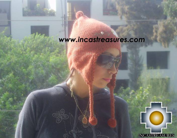 Alpaca Wool Hat with Embroidery Kantuta willapi  - Product id: Alpaca-Hats09-02