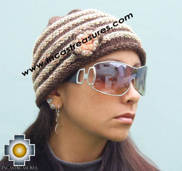 Alpaca Wool Hat worms Brown -  Product id: Alpaca-Hats09-41 Photo01