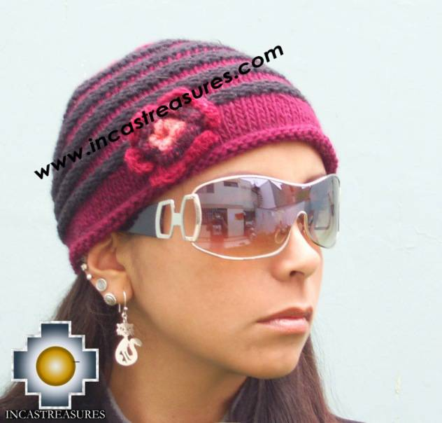 Alpaca Wool Hat worms Burgundy -  Product id: Alpaca-Hats09-42