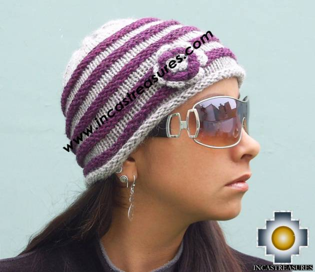 Alpaca Wool Hat worms purple -  Product id: Alpaca-Hats09-45